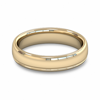 Fairtrade Gold Grooved Court Men s Wedding Ring in 18K Yellow Gold