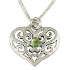 Collette s Heart Pendant with Gem in Peridot