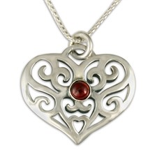 Collette s Heart Pendant with Gem in Sterling Silver