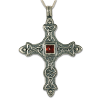 Aedan Cross Pendant in Garnet