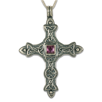 Aedan Cross Pendant in Amethyst