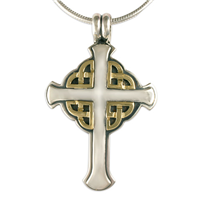 Interlace Cross in 14K Yellow Gold Design w Sterling Silver Base