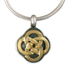 Sita Pendant in 14K Yellow Gold Design w Sterling Silver Base
