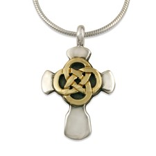 Sita Cross in 14K Yellow Gold Design w Sterling Silver Base