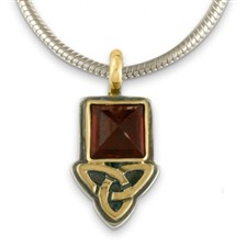 Aria Square Pendant  in 14K Yellow Gold Design w Sterling Silver Base