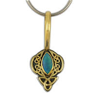 One of a Kind Eros Pendant in 18K Yellow Gold Design w Sterling Silver Base