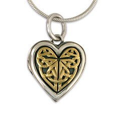 Heart Locket in 14K Yellow Design/Sterling Base