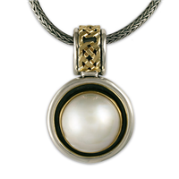 Luna Slider with South Sea Pearl in 14K Yellow Gold Design w Sterling Silver Base