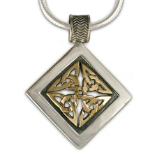 Orkney Pendant in 14K Yellow Gold Design w Sterling Silver Base