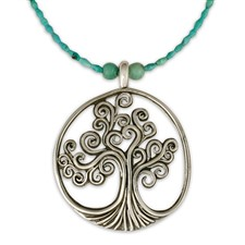 Tree of Life Pendant on Turquoise Beads in Sterling Silver
