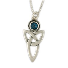 Trinity Pendant with Gem in Sterling Silver