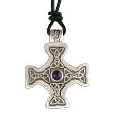 Columba s Cross on Cord in Amethyst
