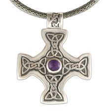 Columba s Cross on Woven Chain in Amethyst