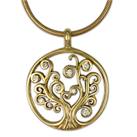 Tree of Life Pendant 14K with Gems Small in 14K Yellow Gold