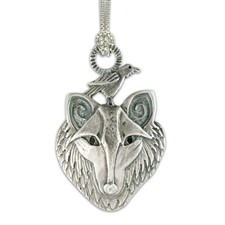Wolf and Raven Pendant in Sterling Silver