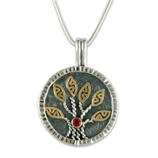 Moon Tree Pendant  in Garnet