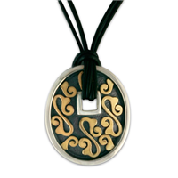Shield Pendant in 14K Yellow Design/Sterling Base