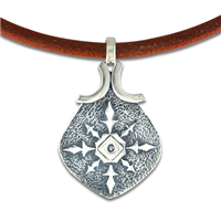 North Star Leather Pendant in Sterling Silver
