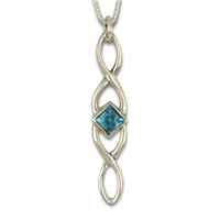 Twist Pendant Long in Swiss Blue Topaz