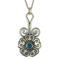 Heart Bloom Pendant in London Blue Topaz