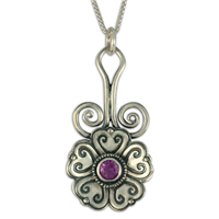 Heart Bloom Pendant in Amethyst