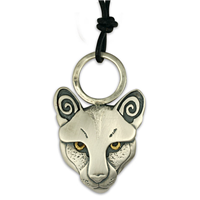 Mountain Lion with Golden Eyes in 24K Yellow Gold & Sterling Silver