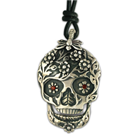 Flora Silver Skull Pendant in Sterling Silver