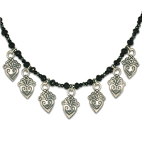 Corazonita Necklace with Gem Beads in Onyx