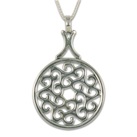 Swirling Triscali Pendant in Sterling Silver