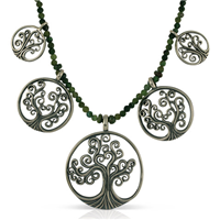 Tree of Life Forest Necklace With Gem Beads in Sterling Silver