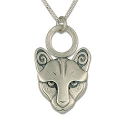 Mountain Lion Small Pendant in Sterling Silver