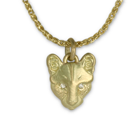 Solid Gold Small Mountain Lion Pendant with Diamond Eyes in 18K Yellow Gold