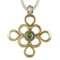 Margarita Necklace in 14K Yellow Gold Design w Sterling Silver Base