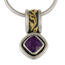 Flores Cushion Pendant in Amethyst