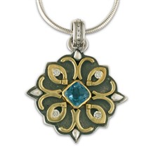 Brigid Pendant with Gems in Swiss Blue Topaz