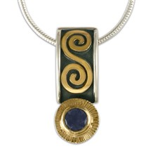 Keltie Pendant with Gem in 14K Yellow Gold Design w Sterling Silver Base