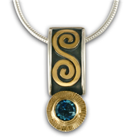 Keltie Pendant with Gem in London Blue Topaz