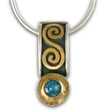 Keltie Pendant with Gem in Swiss Blue Topaz