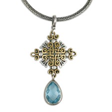 Shonifico Pendant with Swiss Blue Briolite in 14K Yellow Gold Design w Sterling Silver Base