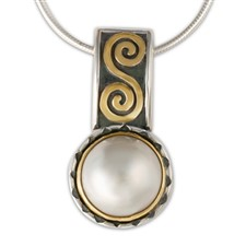 Keltie Pendant with Pearl in 14K Yellow Gold Design w Sterling Silver Base