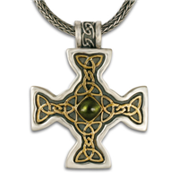 Columba s Cross in 14K Yellow Gold Design w Sterling Silver Base