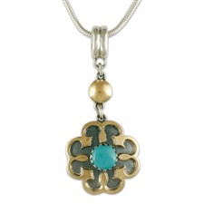 Poppy Pendant in 14K Yellow Gold Design w Sterling Silver Base