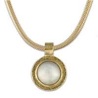 Lunita Pendant in 14K Yellow Gold Design w Sterling Silver Base