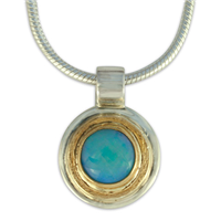 Dione Pendant with Opal in 14K Yellow Gold Design w Sterling Silver Base