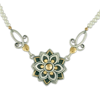 Kamala Necklace in 14K Yellow Design/Sterling Base