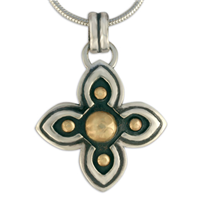 Niniane Pendant in 14K Yellow Gold Design w Sterling Silver Base