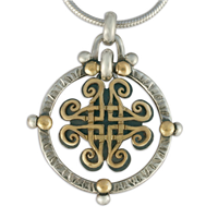 Taliesin Pendant in 14K Yellow Gold Design w Sterling Silver Base
