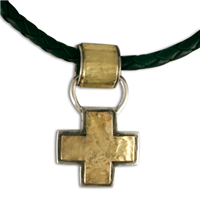 Wistra Cross Pendant in 14K Yellow Gold Design w Sterling Silver Base