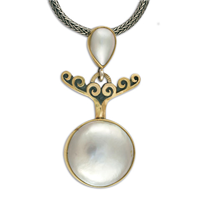 Pearl Plunge Pendant in 14K Yellow Gold Design w Sterling Silver Base