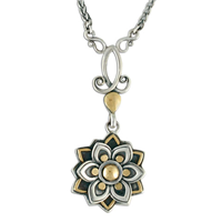 Kamala Drop Necklace in 14K Yellow Gold Design w Sterling Silver Base